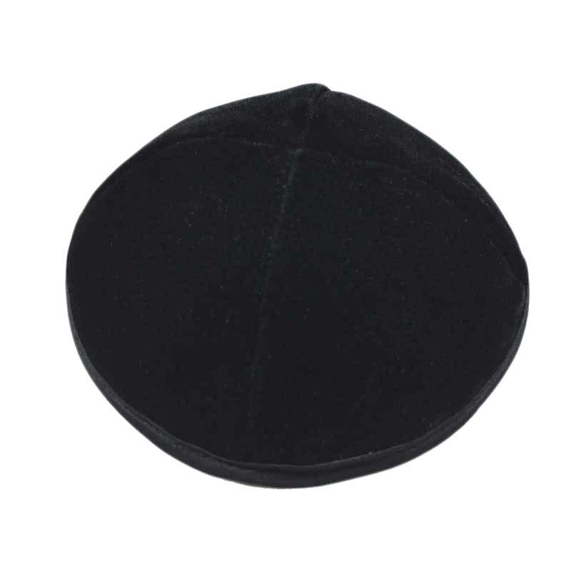 כיפה שחורה קטיפה 4 חלקים עם פס