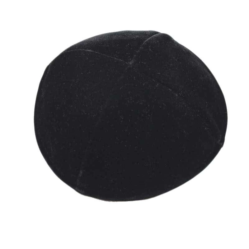 כיפה שחורה קטיפה 4 חלקים בלי פס