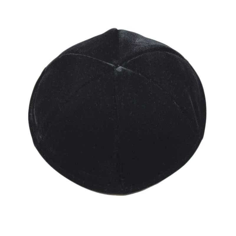 כיפה שחורה קטיפה 6 חלקים בלי פס